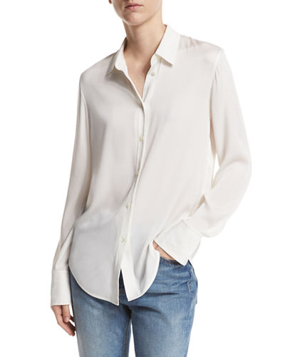 Slim-Fit Stretch-Silk Blouse