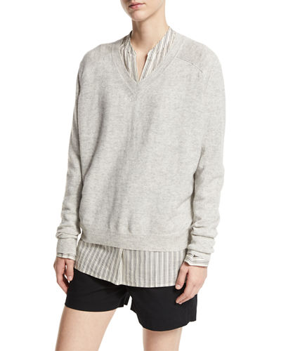 Linen-Cashmere V-Neck Sweater
