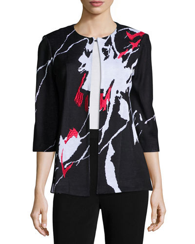 Abstract Pattern Jacket, Plus Size
