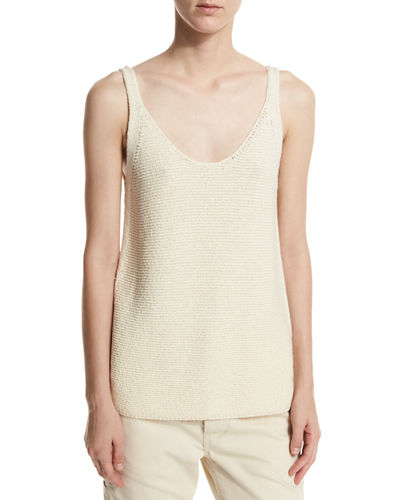 Textured Scoop-Neck Tank