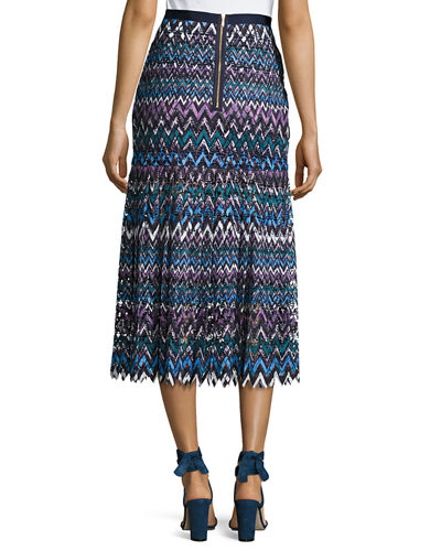 Diana C Chevron Lace Midi Skirt