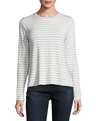 Long-Sleeve Striped French Terry Crew-Neck Tee