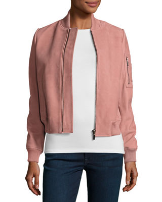 Suede Bomber Jacket w/ Ribbed Trim