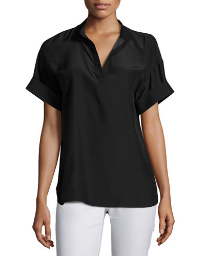Short-Sleeve Candra Matte Silk Blouse