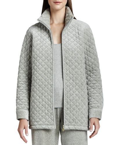 Quilted Velour Jacket, Petite