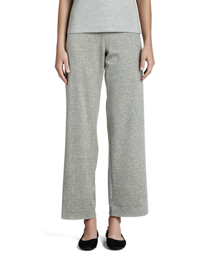 Straight-Leg Velour Pants, Petite
