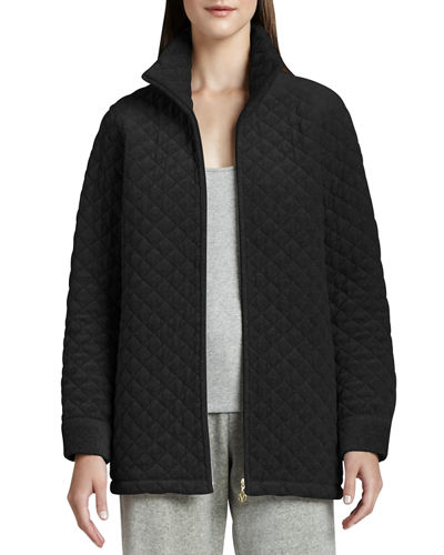 Quilted Velour Jacket, Plus Size