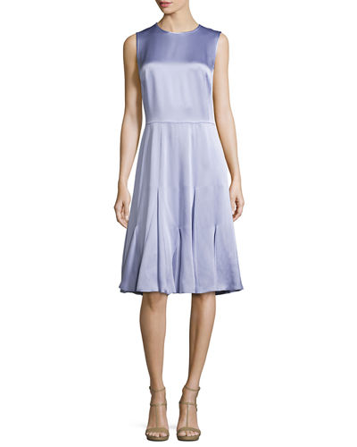 Sleeveless Godet-Pleated Dress, Thistle