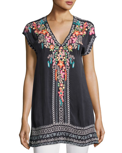 Letty Embroidered Silk-Georgette Top, Petite