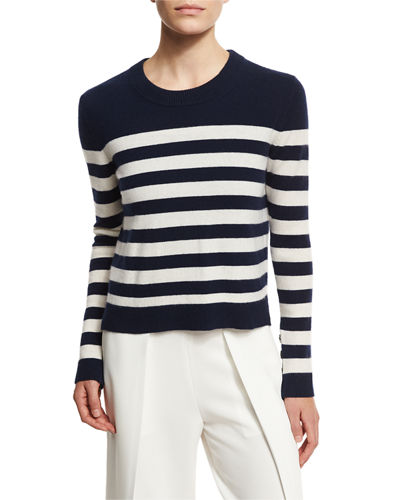 Lillian Striped Cashmere Crewneck Sweater, Navy/White