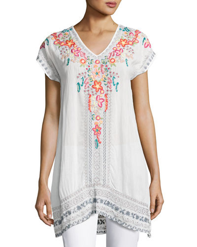 Letty Short-Sleeve Embroidered Silk Georgette Top