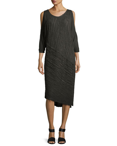 Trella Cold-Shoulder Rope-Trim Knit Dress, Plus Size