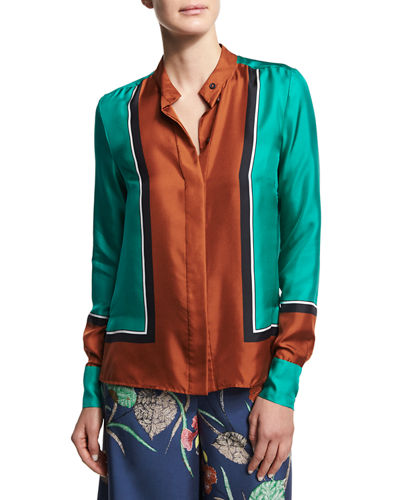 Colorblock Silk Satin Shirt, Blue/Yellow