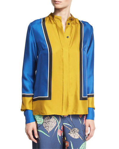 Colorblock Silk Satin Shirt