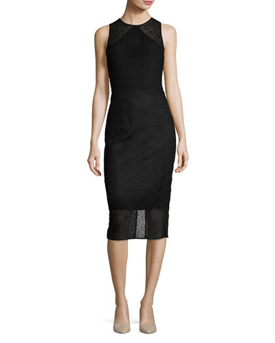 Lace & Basketweave Sheath Dress