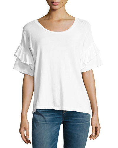 Distressed Ruffle Roadie Tee