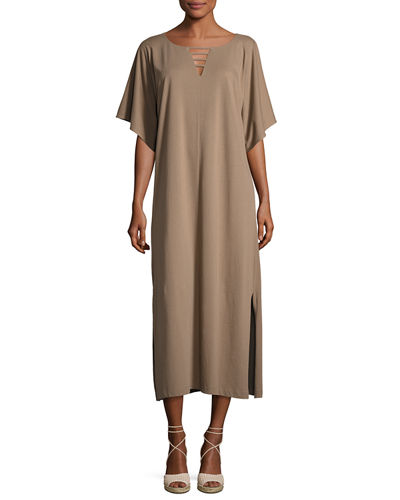 Long Dolman-Sleeve Dress w/ Lattice Detail