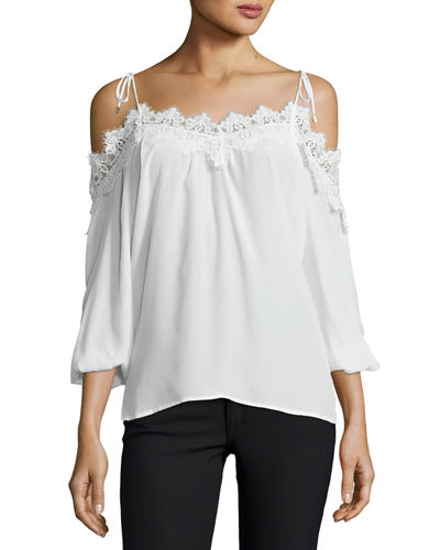 Fleur Lace-Trim Cold-Shoulder Top