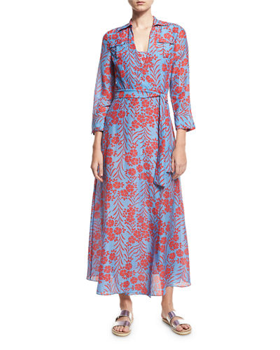 Floral-Print Voile Maxi Wrap Dress, Blue/Red