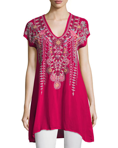 Karineh V-Neck Embroidered Tunic, Petite
