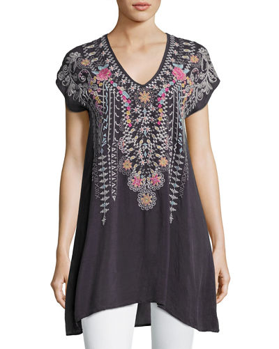 Karineh V-Neck Embroidered Tunic, Plus Size