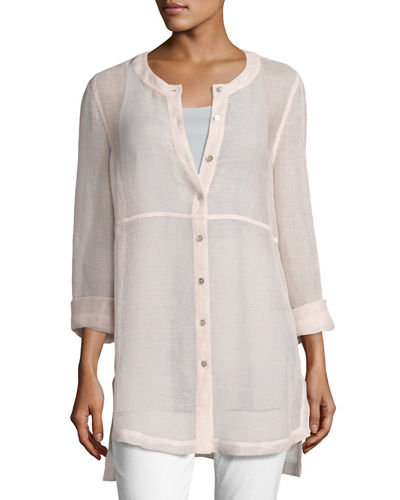 Woven Linen Mesh Round-Neck Top, Opal, Plus Size