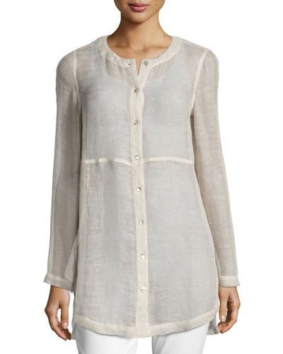 Woven Linen Mesh Round-Neck Top, Plus Size
