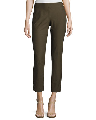 Washable Stretch Crepe Ankle Pants