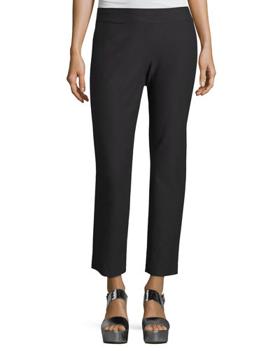 Washable Stretch Crepe Ankle Pants, Plus Size