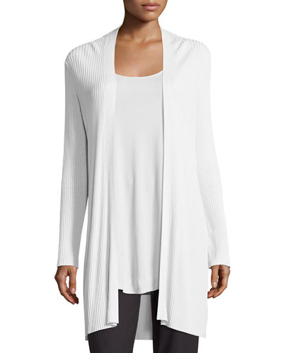 Long Sleek Tencel® Ribbed Cardigan, Plus Size