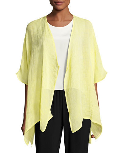 Gauze Easy-Fit Cardigan, Plus Size