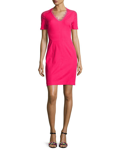 Ainsley Short-Sleeve Lace-Trim Sheath Dress