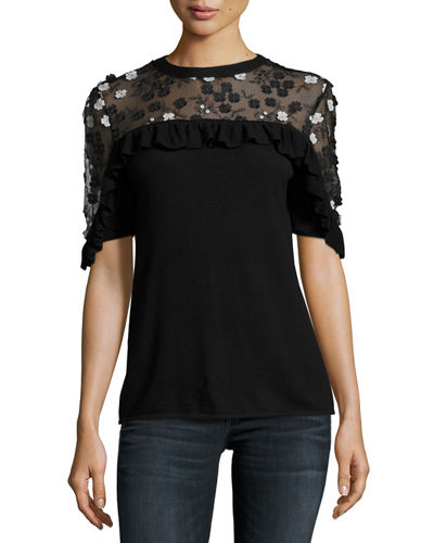 Flora Short-Sleeve Merino Sweater w/ Lace Yoke