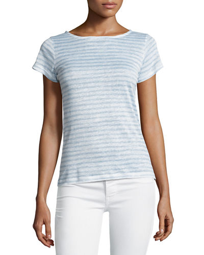 Striped Linen Button-Back Tee
