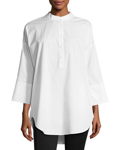 3/4-Sleeve Half-Button Oversized Stretch-Cotton Shirt, Petite