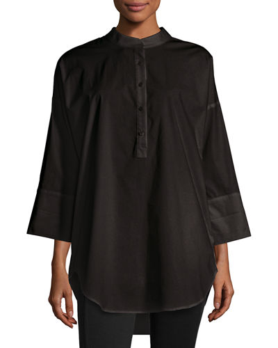 3/4-Sleeve Half-Button Oversized Stretch-Cotton Shirt, Plus Size