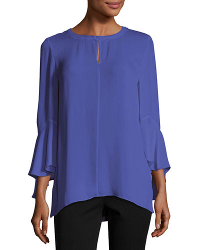 Shia Bell-Sleeve Silk Blouse