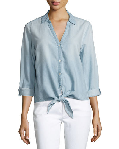 Crysta Chambray Tie-Hem Shirt