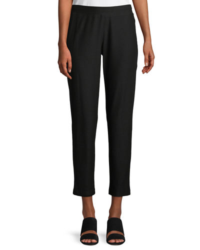 Eileen Fisher Stretch-Crepe Ankle Pants, Bone, Petite