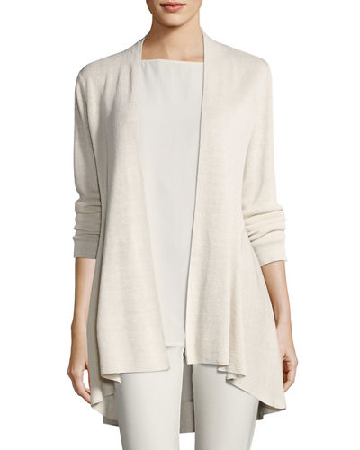 Eileen Fisher Long Crepe-Knit Shaped Cardigan