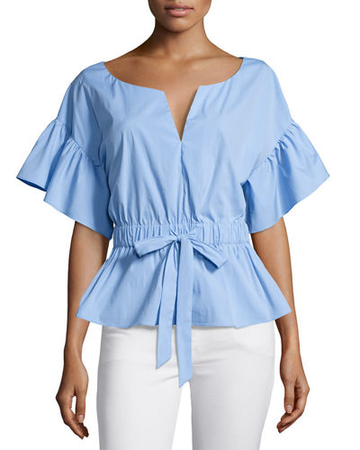 Vivian Drawstring-Waist Stretch-Poplin Top
