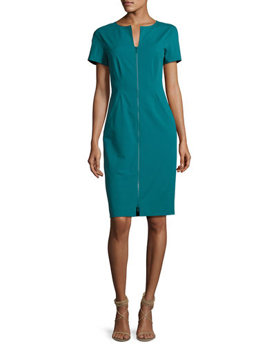 Deja Zip-Front Bi-Stretch Sheath Dress