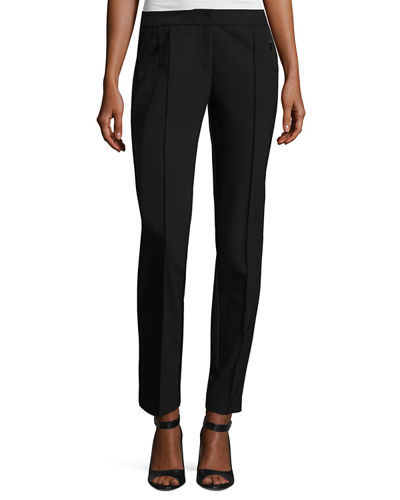 Orchard Stretch-Knit Straight-Leg Pants, Black
