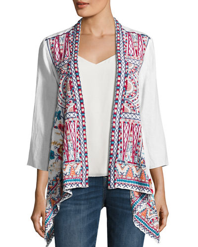 JWLA For Johnny Was Mina Embroidered Linen Cardigan
