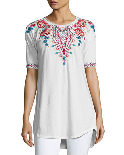 Mina Dropped-Shoulder Embroidered Tee