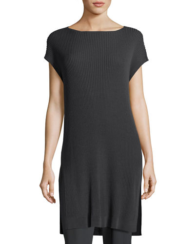 Eileen Fisher Cap-Sleeve Bateau-Neck Tencel® Ribbed Tunic