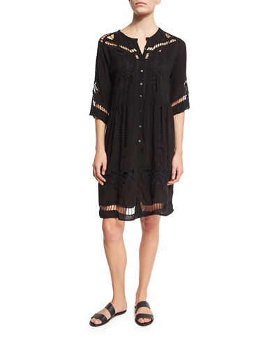 Tribal Eyelet Button-Down Dress
