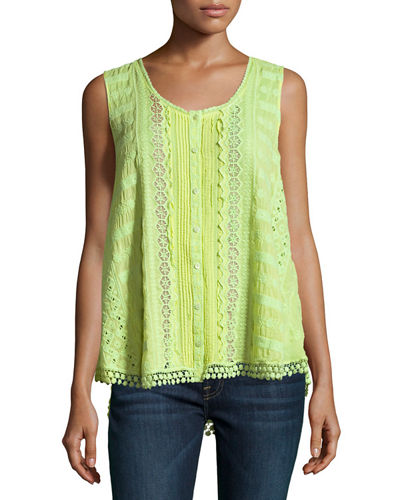 Johnny Was Nye Button-Front Georgette Eyelet Tank, Plus