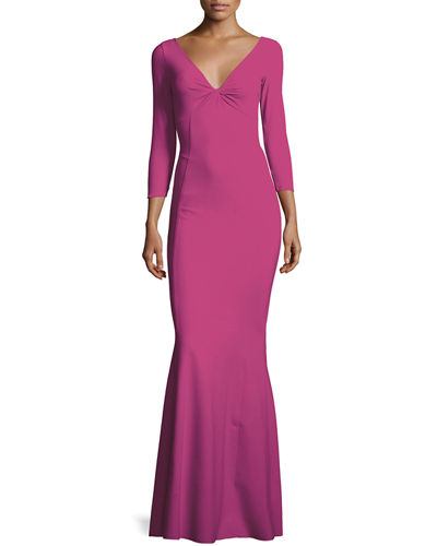 Saturnnia 3/4-Sleeve Twist-Front Long Gown