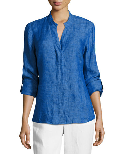 Drifty Linen Button-Front Top, Petite